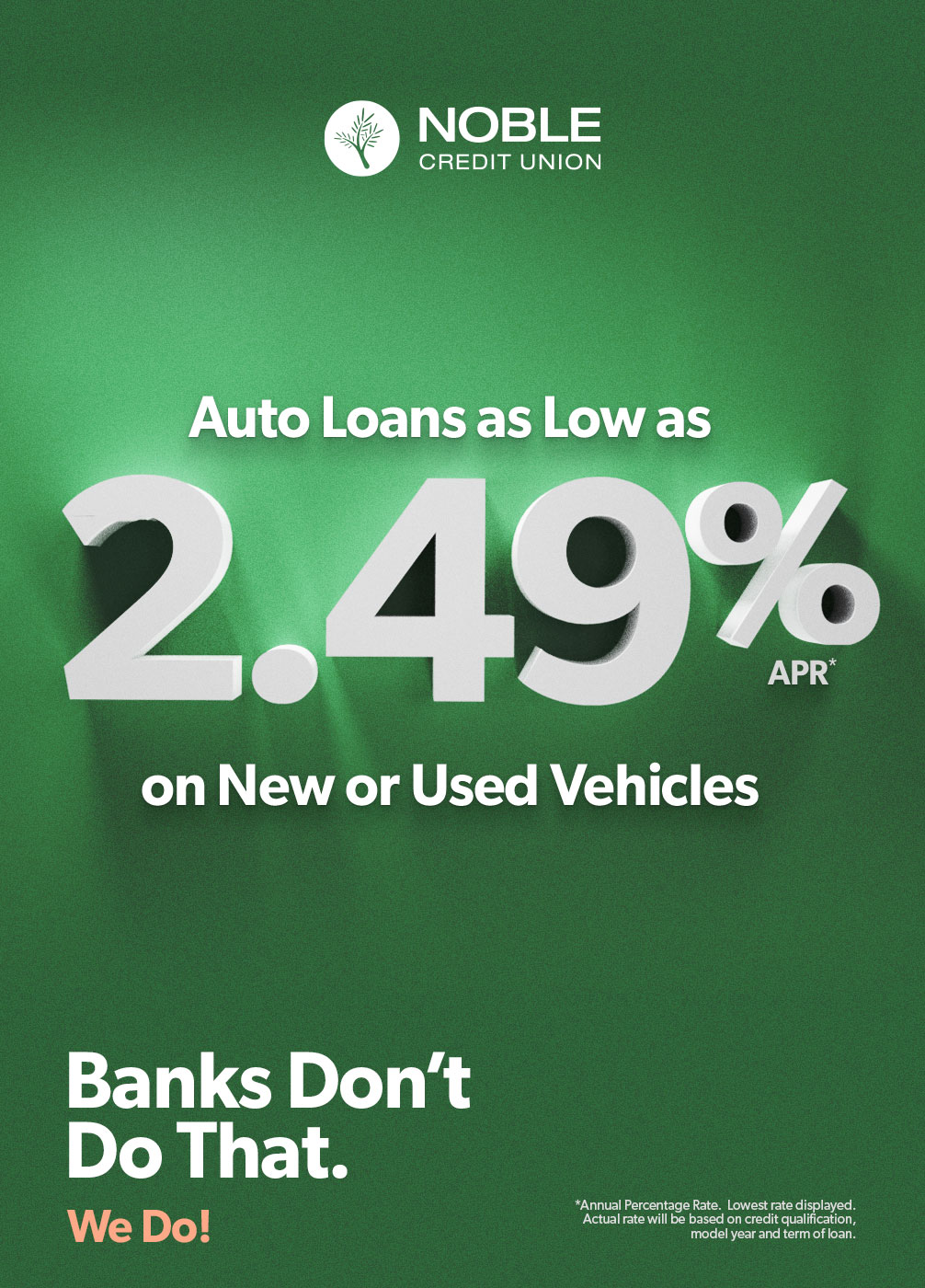 Noble Auto Loan Interest Rate Ad